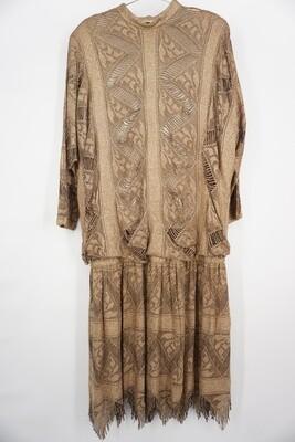 Gold Sparkle Drop Waist Dress
