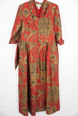 Red/Gold Floral Print Dress Size 14