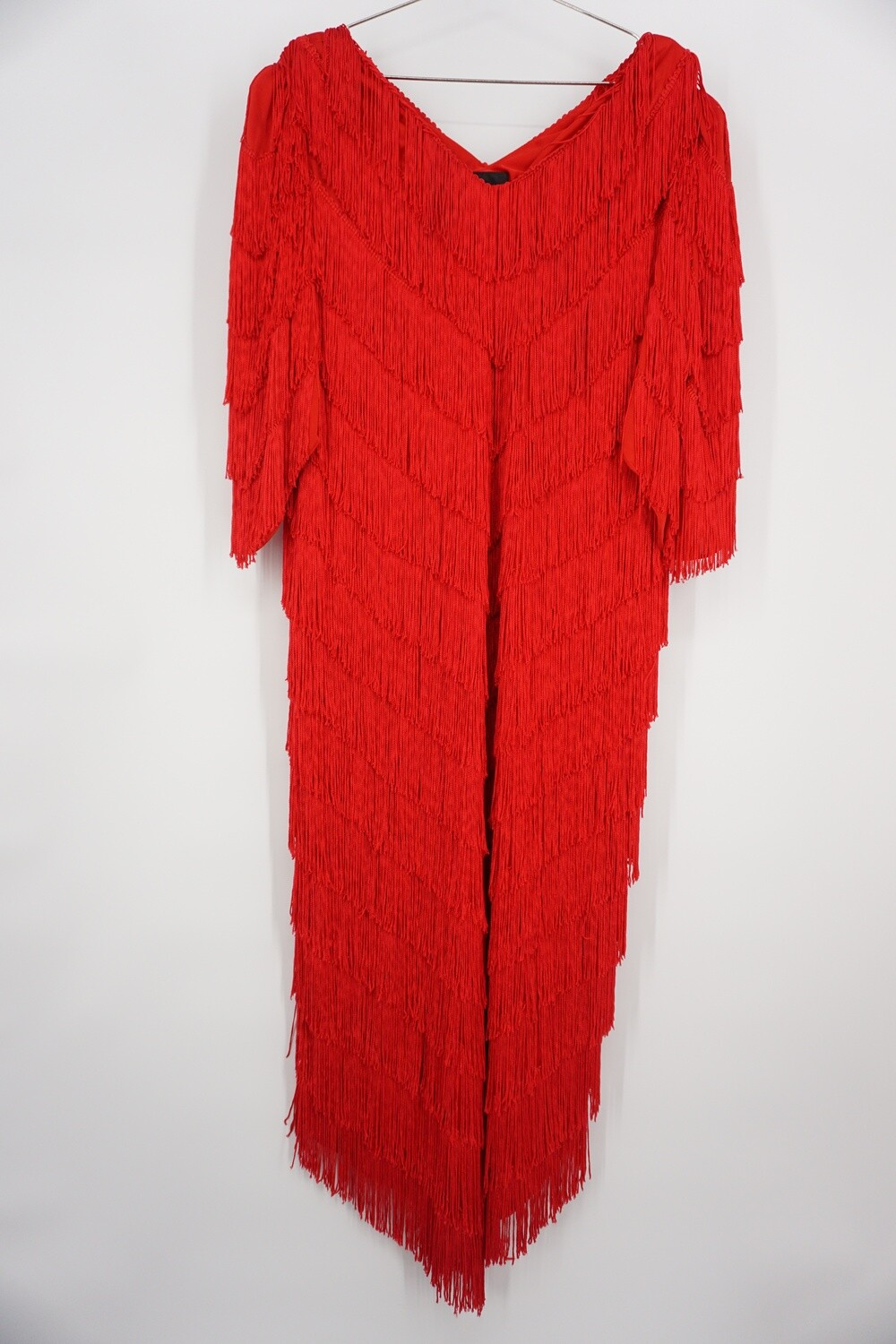 Red Fringe Party Dress Size 20