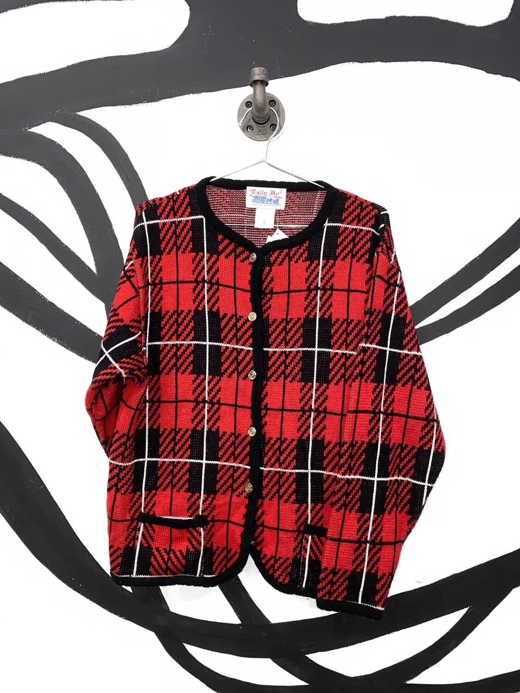 Tally- Ho Plaid Print Sweater Size L