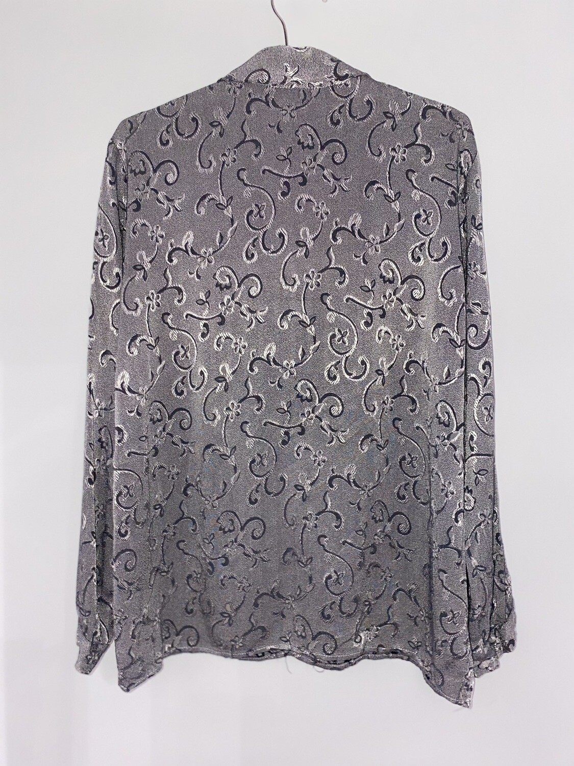 Shiny Grey Floral Print Button Up Size M