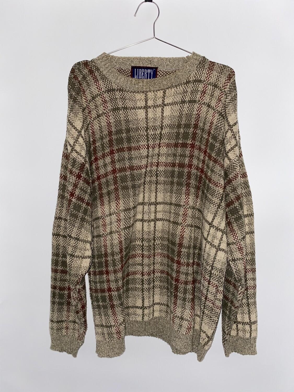 Liberty Plaid Knit Sweater Size L