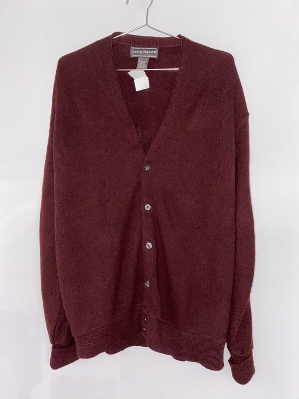 David Taylor Red Knit Cardigan Size L