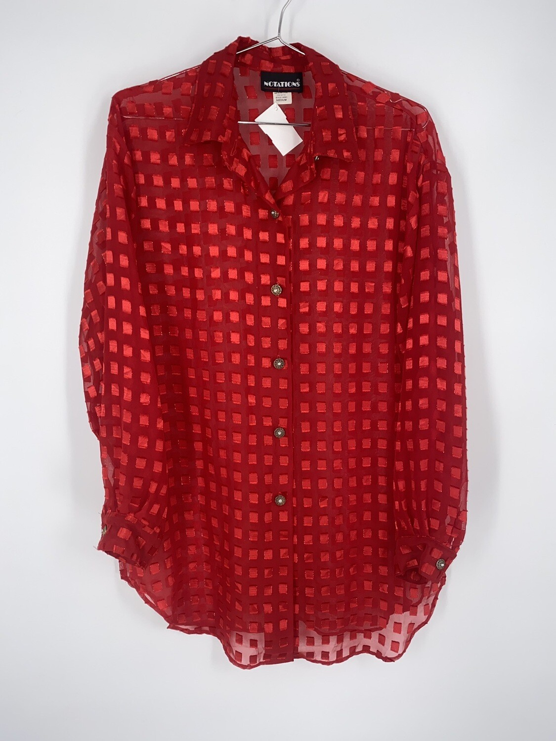 Sheer Red Square Motif Button Up Size M