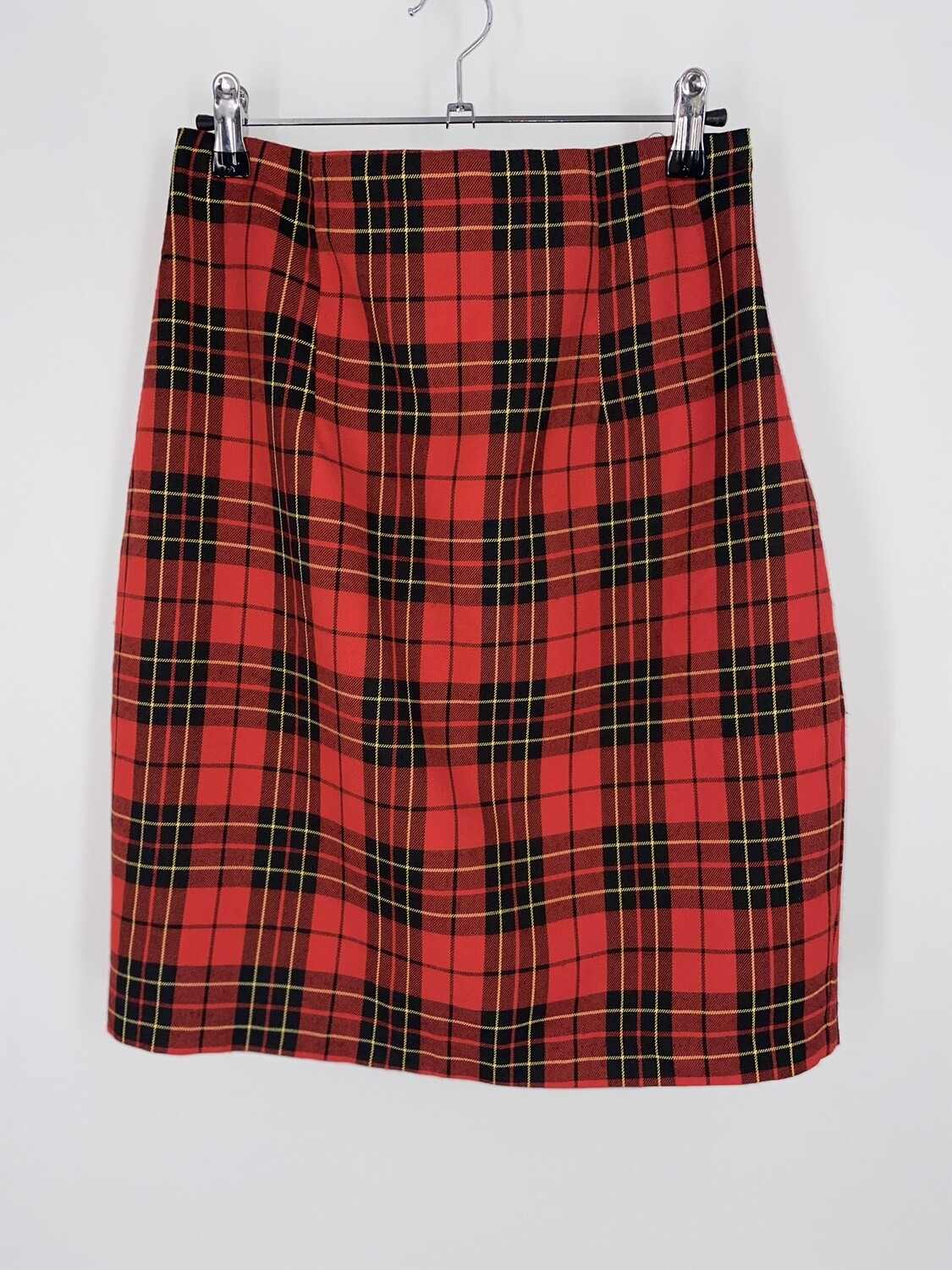 Red Plaid Pencil Skirt Size M
