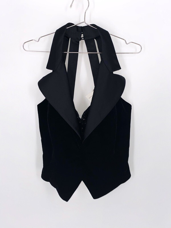 Black Open Back Vest Top Size M