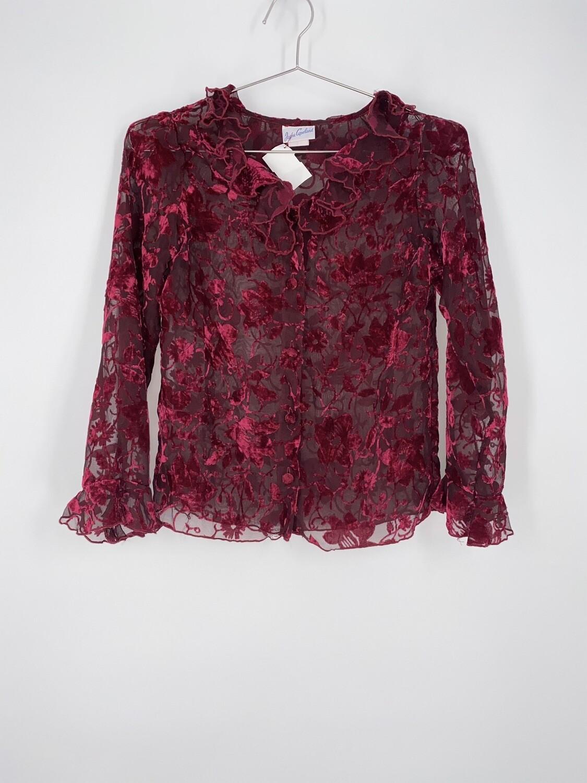 Sheer Floral Red Velvet Top Size S
