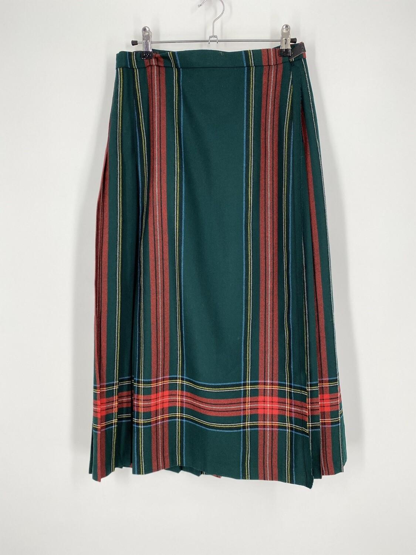Pleated Plaid Wrap Skirt Size M