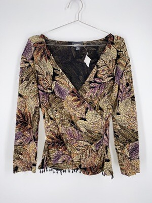 Floral Beaded Trim Top Size M