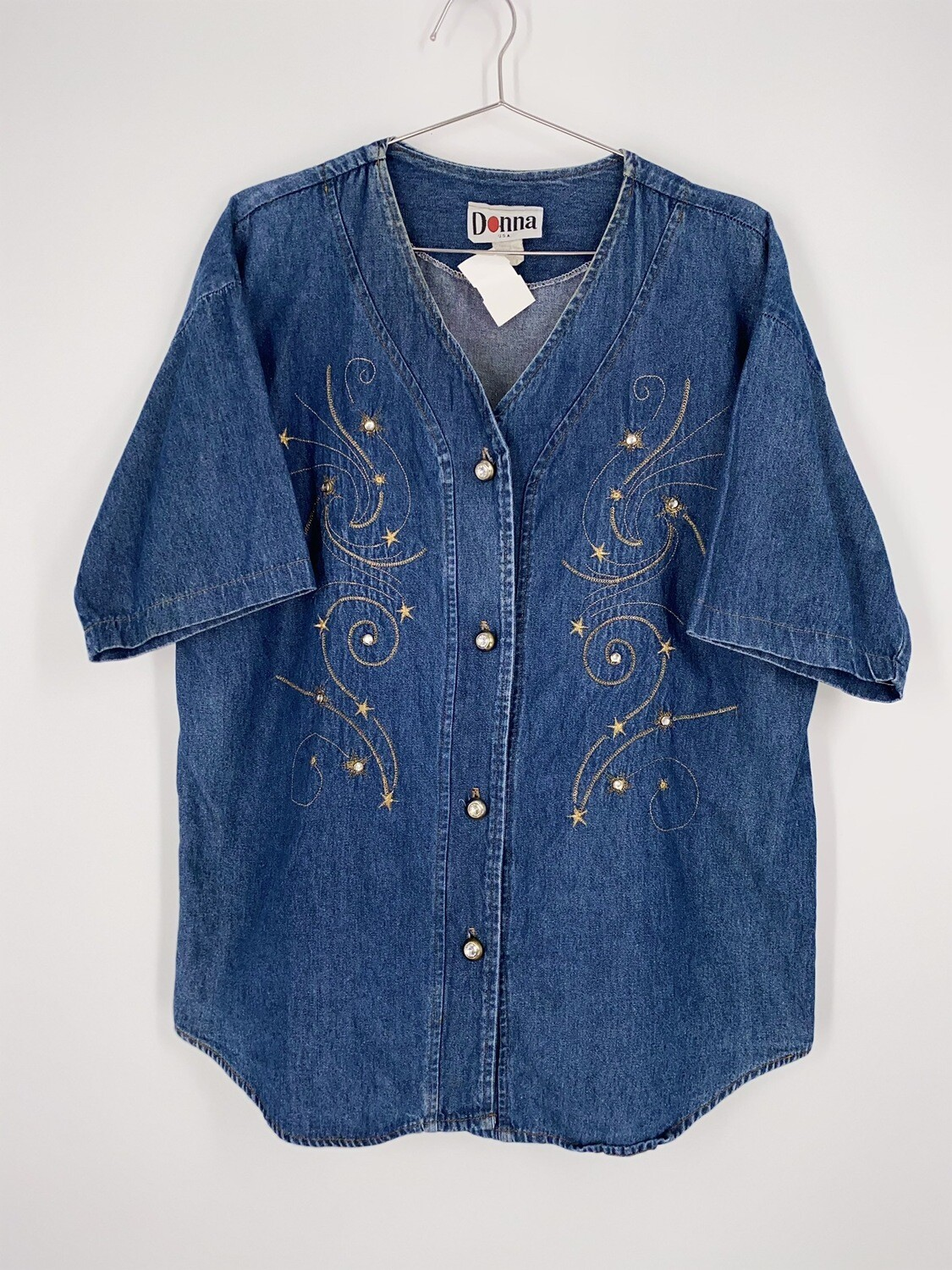 Star Embroidered Denim Top Size M