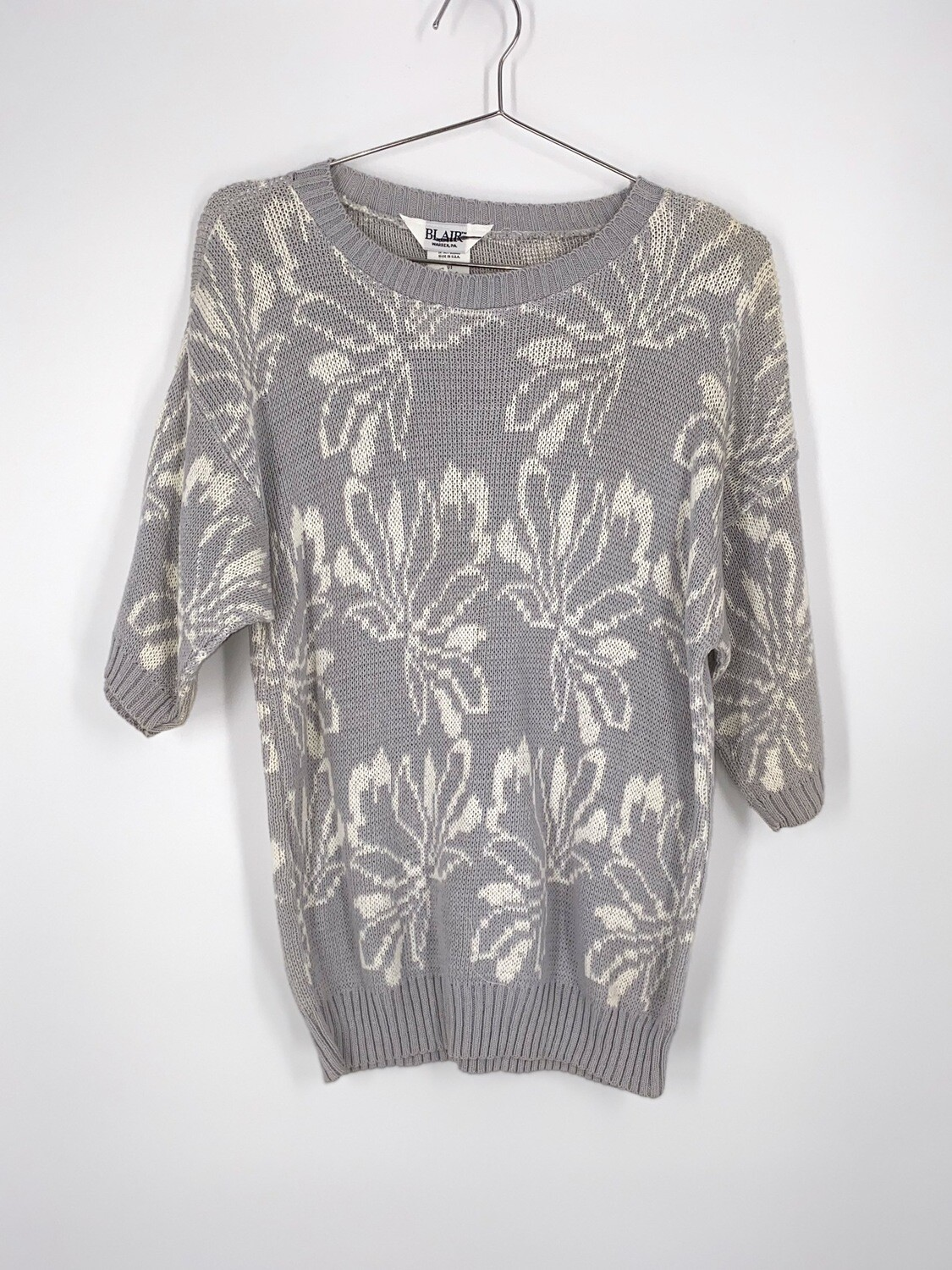 Blair Grey Floral Sweater Size S