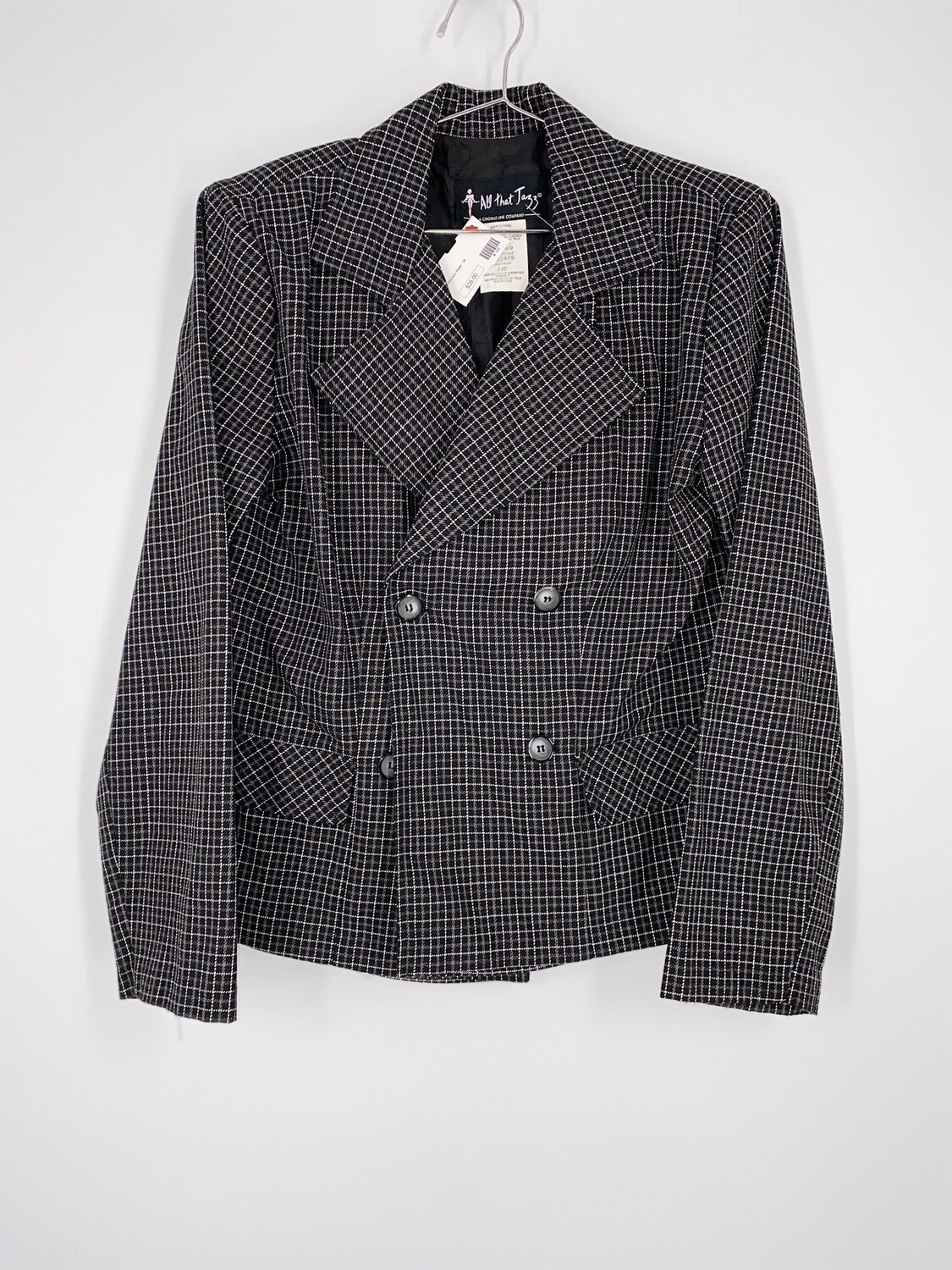 All That Jazz Black And White Plaid Blazer Size L