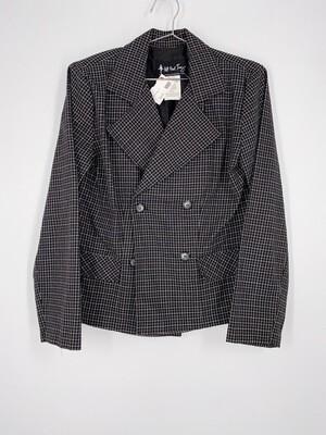 All That Jazz Black And White Plaid Blazer Size L