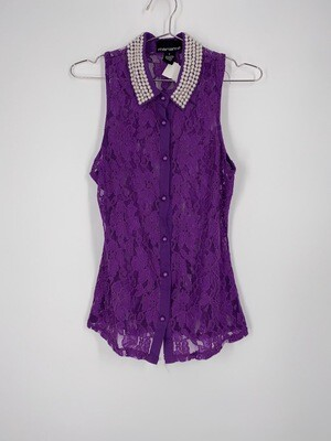 Purple Lace Pearl Collar Top Size M