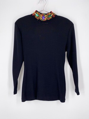 Jeweled Collar Open Back Top Size M
