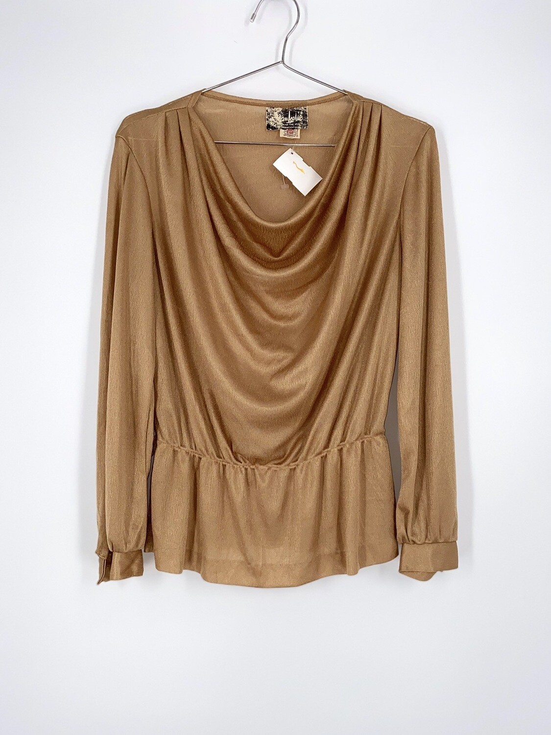 Gold Cowl Neck Top Size S
