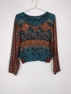 Multi Patterned Long Sleeve Top Size S