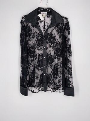 Black Floral Lace Top Size M