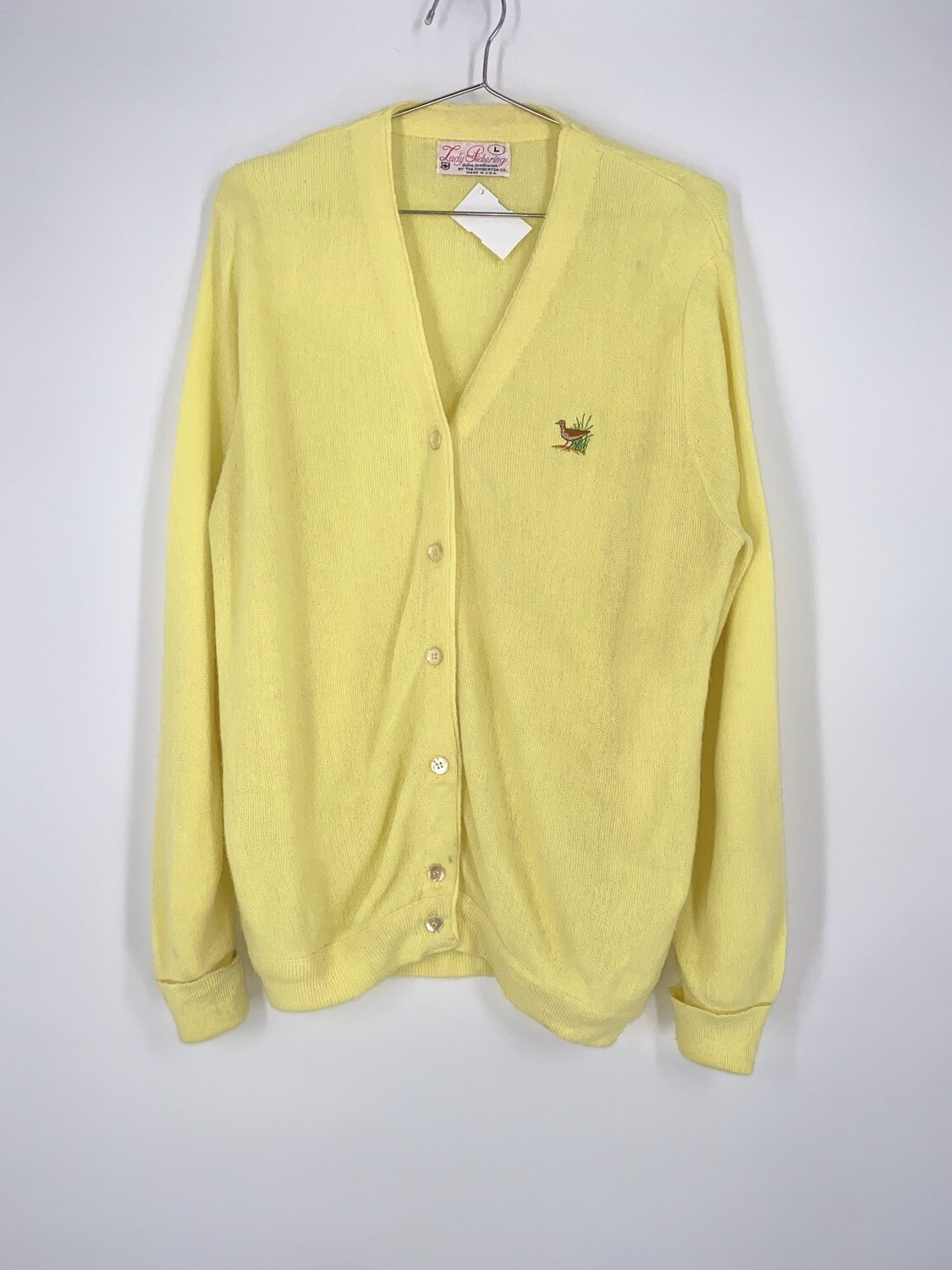 Pale Yellow Embroidered Cardigan Size L