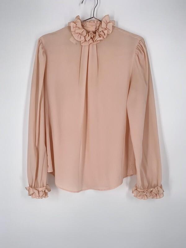 Pink Ruffled Hem Blouse Size M