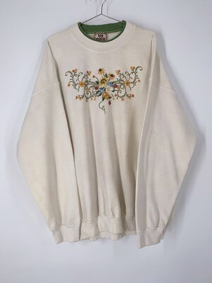 Floral Top Stitch Crewneck Size XL