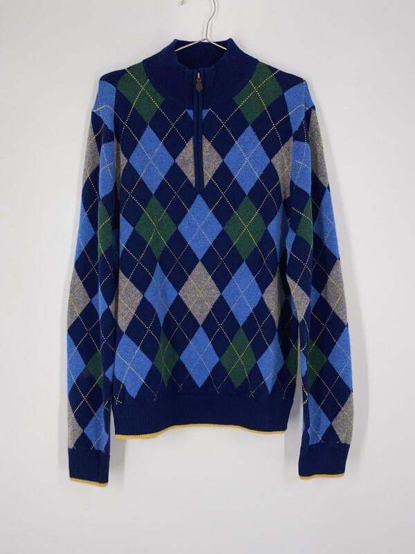 Argyle Half Zip Sweater Size L