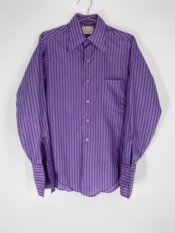 Hampshire House By Van Heusen Purple Pinstripe Button Up Size S