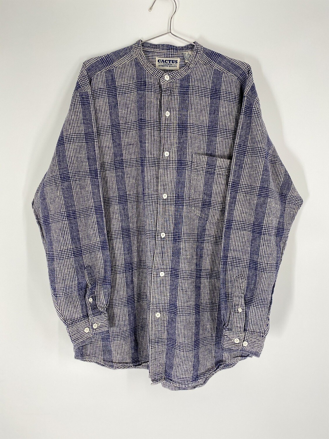 Cactus Clothing Blue Plaid Mandarin Collared Button Up Size M