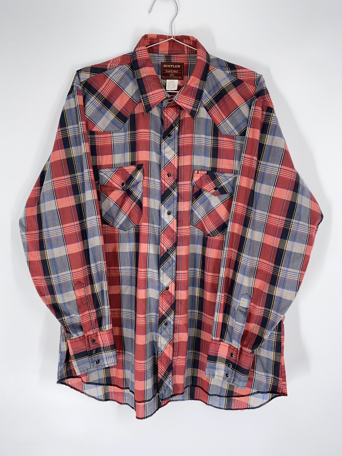 Rustler Red Plaid Button Up Size L