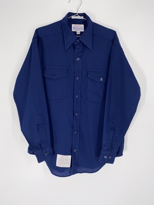 Creighton Navy Blue Double Breast Pocket Button Up Size M