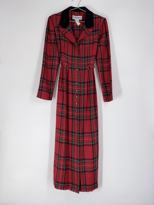 Plaid Button Up Tie Back Dress Size M