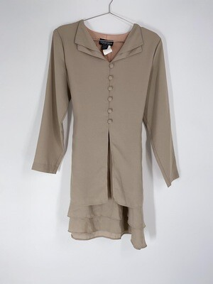 Layered Button Up Tie Back Dress Size M