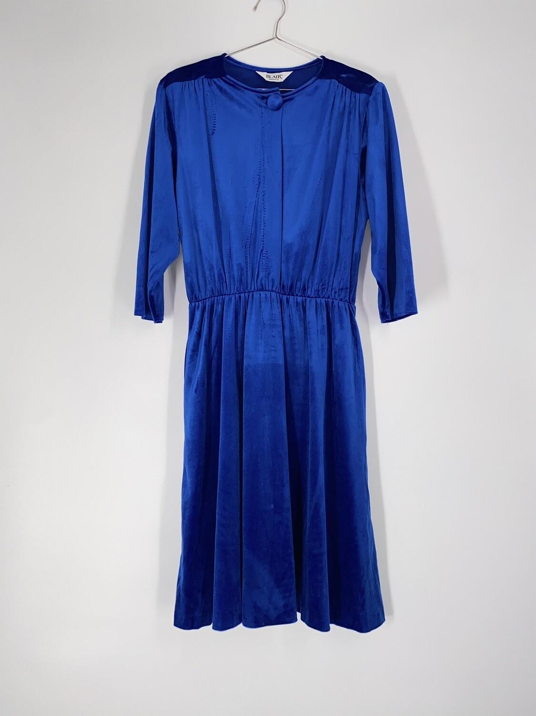 Blue Velvet Button Dress Size S