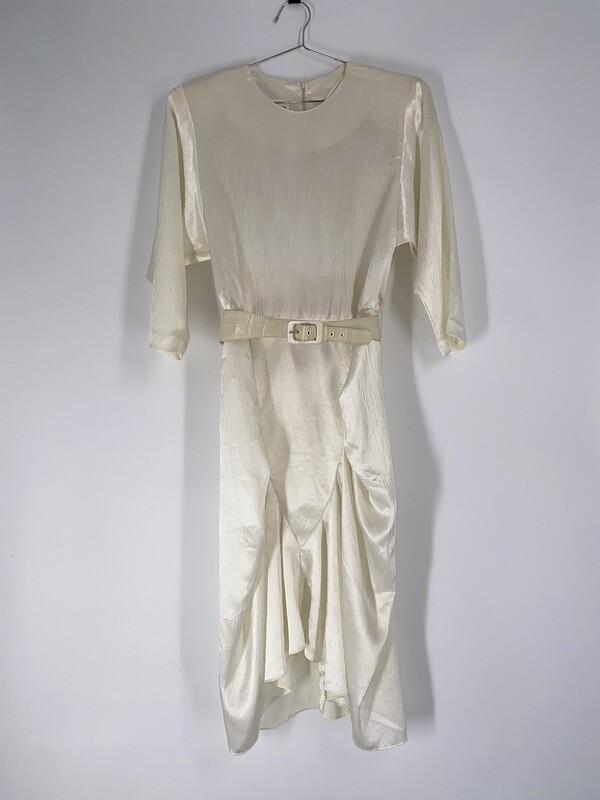Cream Belted Ruche Dress Size L