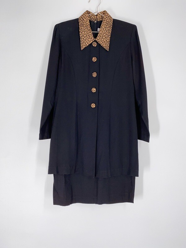 Cheetah Collar Layered Dress Size M