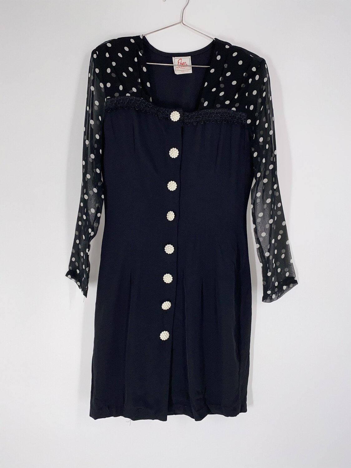 Polka Dot Sheer Sleeve Dress Size S