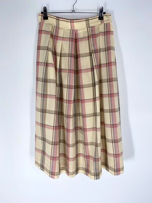 Cream Plaid Skirt Size M