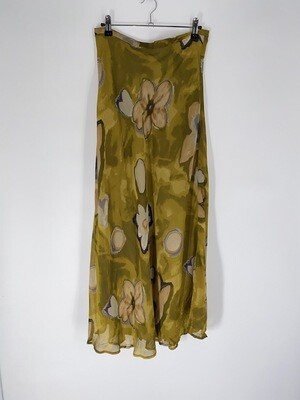 Green Floral Flowy Skirt Size M