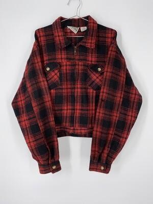 Karans Kollection zip Up Flannel Jacket Size L