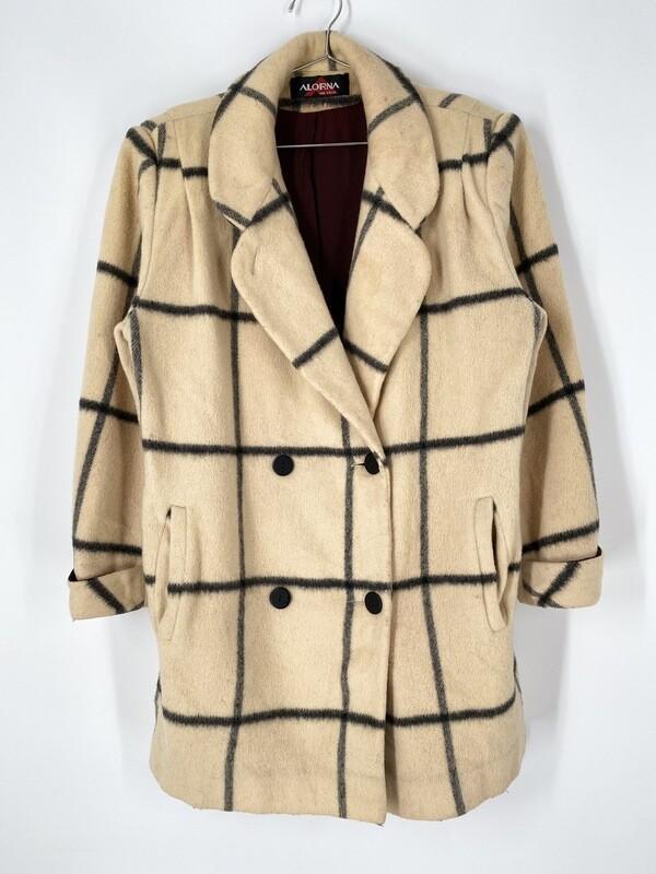 Alorna Black And Tan Checkered Coat Size L