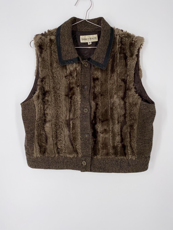 Nancy Bolen Brown Faux Fur Vest Size S