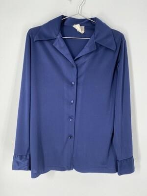 Tan F Jay Blue Sheen Button Up Size Medium