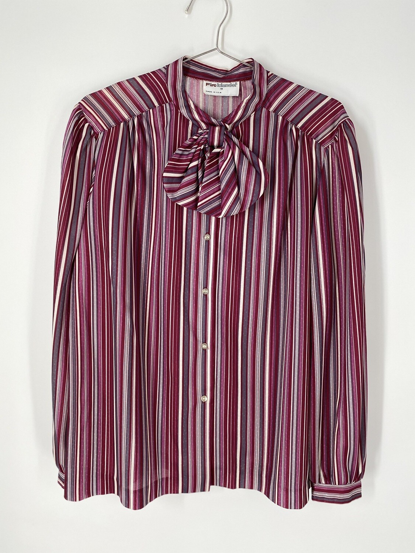 Fire Islander Candy Stripe Bow Tie Button Up Size L