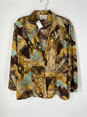 Freestyle Animal Abstract Print Button Up Size L