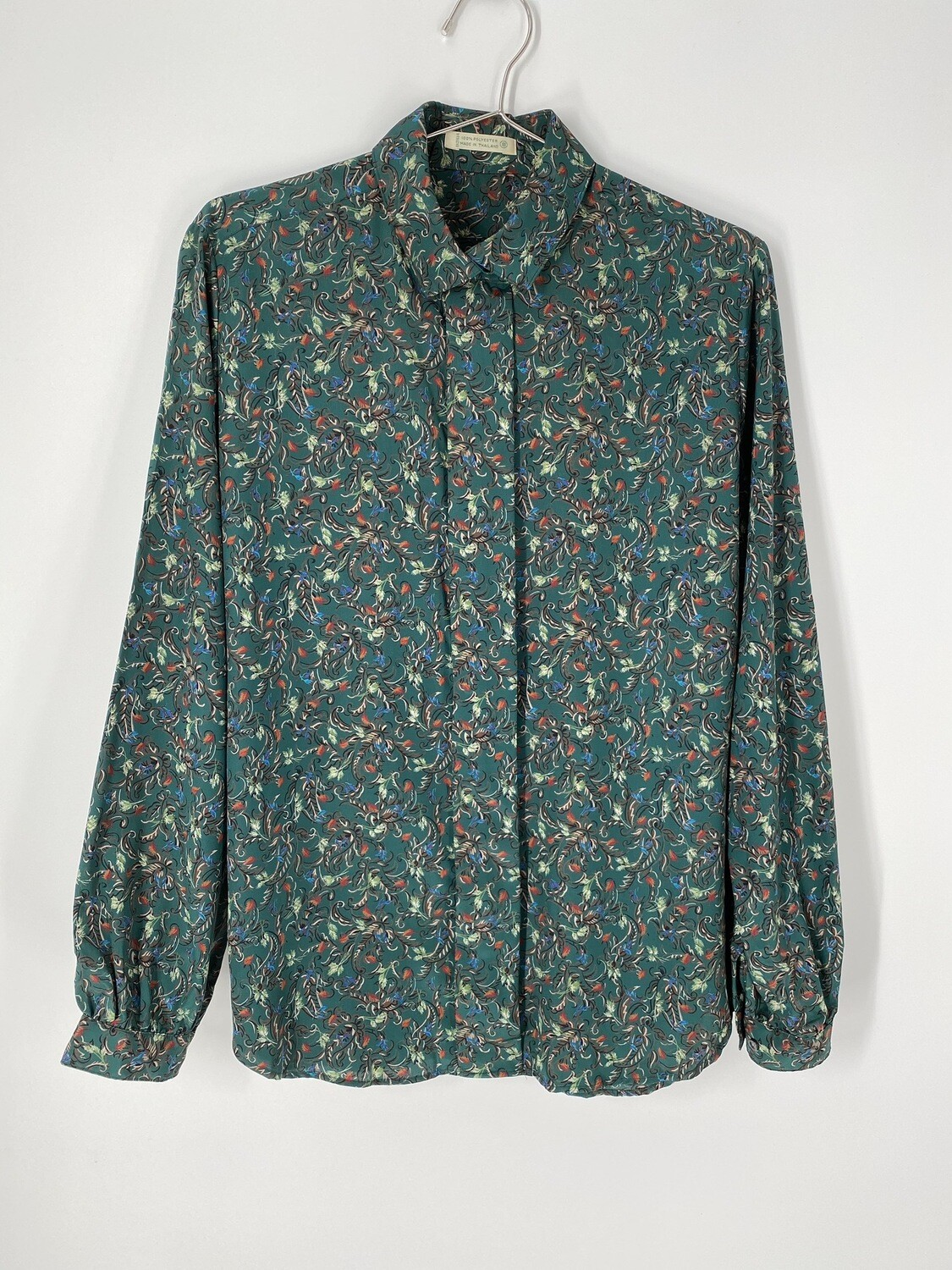 Forest Green Paisley Button Up Size S
