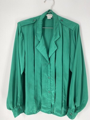 Susan Hutton Emerald Green Button Up Size L