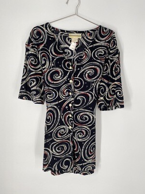 Karen T Swirly Print Button Up Size L
