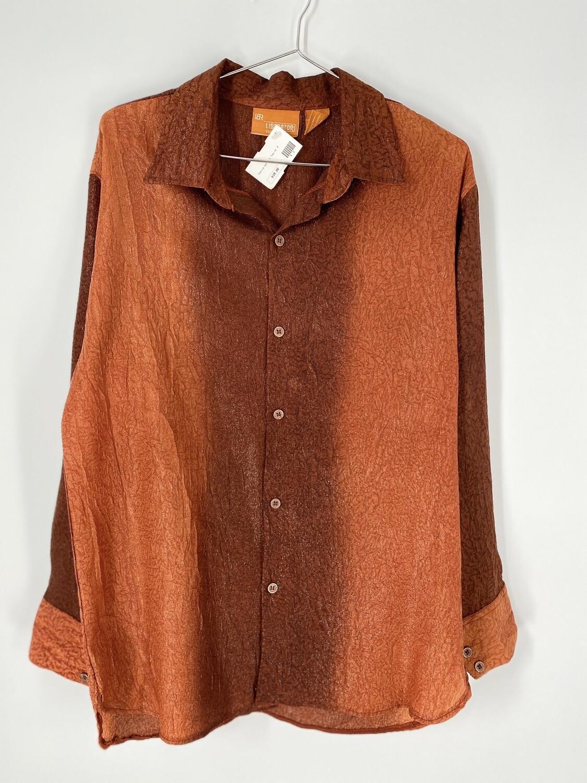 Liberator Club Wear Sparkly Orange Button Up Size M