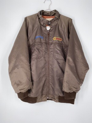 Brown Embroidered Zip Up Bomber Jacket Size M