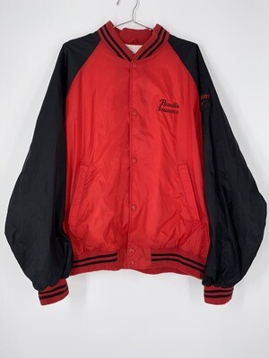 Flying Colors Red And Black Button Up Bomber Jacket Size M
